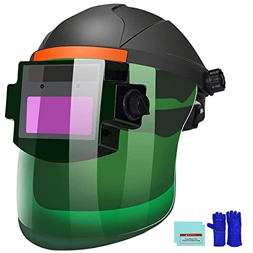 Ekkcash Auto Darkening Welding Helmet,Large Viewing Solar-Lithium Dual Power Mask, Wide Shade 9-13 Flip up Welding Hood with Grinding For Tig Mig Mma Plasma