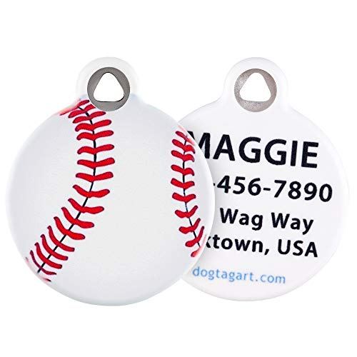 Dog Tag Art Baseball Pet ID Tag for Dogs and Cats Large Size
