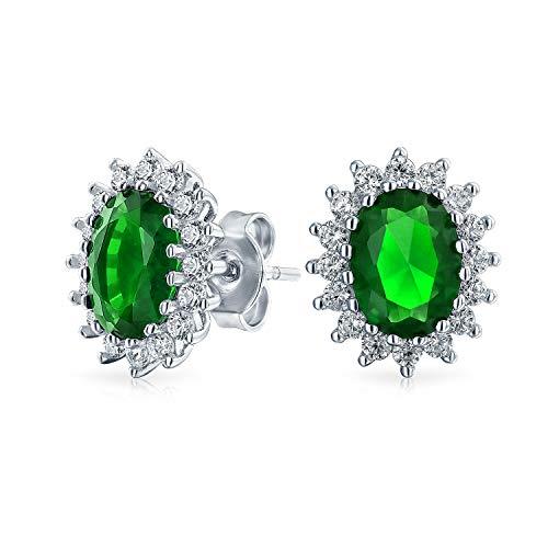 3Ct Oval Grün Ohrstecker Für Damen Simulierten Smaragd CZ Halo Krone Zirkonia 925 Sterling Silber