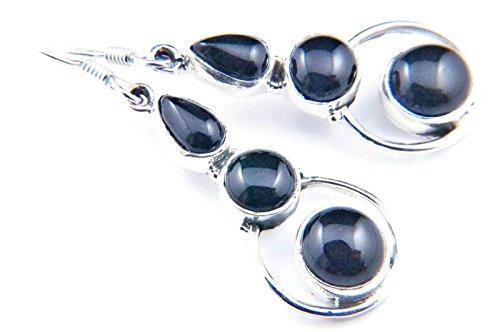 Ohrringe Ohrhänger Silber 925 Sterlingsilber Onyx schwarz Stein (Nr: MOH 85-03)