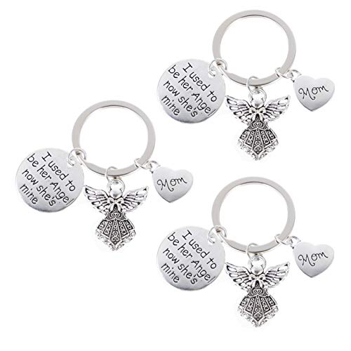 SOIMISS 3 Pcs Angel Pendant Keychains Alloy Guardian Angel Keyring Love Quotes Engraved Keyholder Bag Pendant Gift for Mothers Day Valentines Day Easter