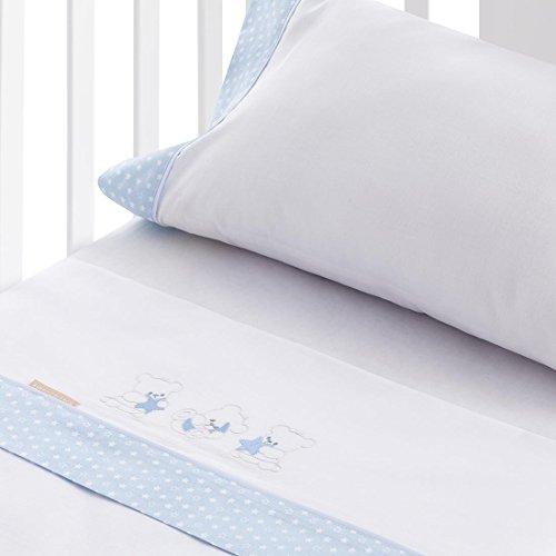 Burrito Blanco Juego de Sábanas Blancas de Bebé 201 con Bordado de Ositos Luna y Estrellas para Cuna de 70x140 cm Algodón 100%, Azul