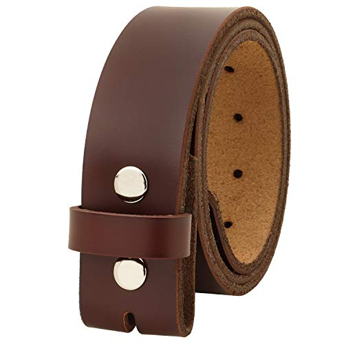 Falari Replacement Genuine Leather Belt Strap Without Buckle Snap on Strap 1.5' Wide 8005 (38 (waist 36), Brown)
