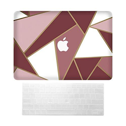 XILOSIN Laptops Carcasa Fundas para Macbook Pro 13 Retina,Red Triangle Design Style Plastic Protective Funda & Keyboard Covers Compatible Macbook Pro 13