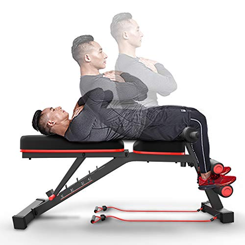 HARISON Weight Bench Adjustable Utility Exercise Workout Bench for Full Body Workout Home Gym Strength Training Multi-Purpose Folding Flat Incline Decline Bench 550 LBS (HR-608)