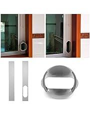 Raamafdichting, raamschuifsetplaat voor draagbare airconditioner, verstelbare universele raamafdichtplaatschuif met uitlaatslang voor mobiele airconditioning, effectief en eenvoudig te installeren