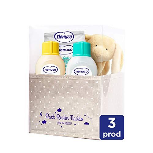 Nenuco Canastilla Regalo Bebé Recién Nacido Set Higiene con Colonia, Toallitas, Jabón de Baño Infantil y Doudou 460 g