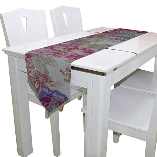 N/A Eettafel Runner Of Dresser Sjaal, Bloemen Ideeën Deck Tafelkleed Runner Koffie Mat voor Bruiloft Partij Banket Decoratie 13 x 90 inch