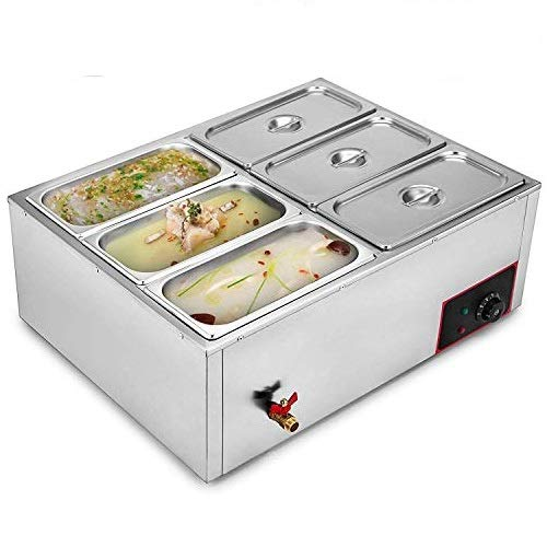 Moracle Catering Chafing Dish Buffet Calentador 220V Calentador Eléctrico de Alimentos Calentador con 6 Calentador de Bandejas Calentador de Alimentos Tipo Bufé 850V (6 Platos)