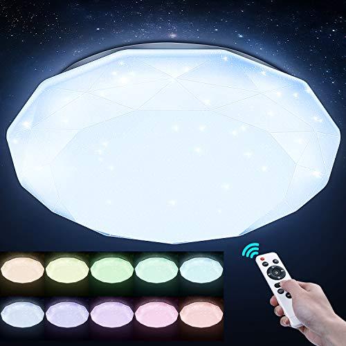 LED Deckenlampe Dimmbar mit Fernbedienung, Elekin 48W Sternenhimmel Wohnzimmerlampe 2700K-6500K RGB Deckenleuchte Wasserfest Badlampe für Kinderzimmer Badezimmer Wohnzimmer Küche Esszimmer