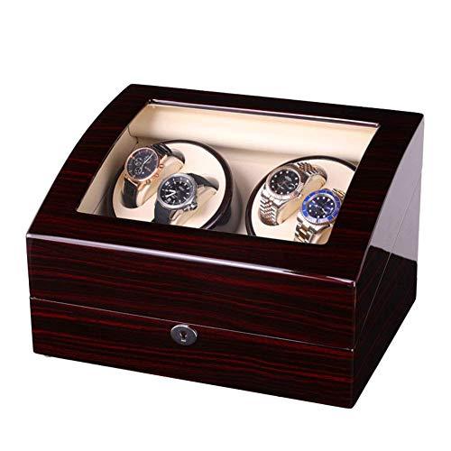 N\C Cajas giratorias para Relojes, Caja enrolladora de Reloj automática de Madera, 5 giros del Programa, 4 Relojes y Caja de presentación de Almacenamiento de 6 Relojes (Color: B) LKWK