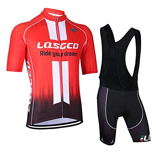 Feilaxleer Ropa Ciclismo Verano para Hombre y Mujer - Un Conjunto de Ciclismo Jersey Maillot y Culotte Pantalones Cortos (L, Rojo 1)
