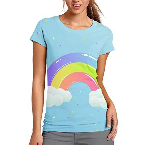 Camiseta de Manga Corta con Estampado de arcoíris para Mujer, de Cuello Redondo, cómoda, poliéster, Blanco, Large