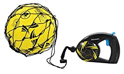 """Re-coil mechanism for fast action and control practice Shaped handle and rubberised surface for extra grip Instant cord locking feature for close control training Universal ball holder to fit all standard size footballs. Please note """"Ball is not incl..."""