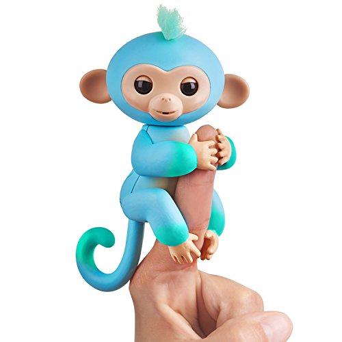 Fingerlings zweifarbiges Äffchen blau mit grün Charlie 3723 interaktives Spielzeug, reagiert auf Geräusche, Bewegungen und Berührungen