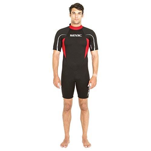 SEAC Relax Short, Muta Corta in Neoprene da 2.2 mm per Snorkeling, Subacquea e Altre attività in Acqua Uomo, Nero/Rosso, L