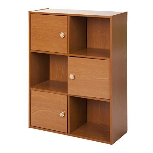 Estante para Libros Estantería 3-Tier 6 Cubo con 3 Puertas y 3 estantes Abierto Cube Estantería de Almacenamiento Librerías Bookshef Librero (Color : B)