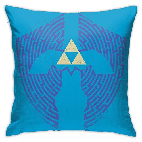 HONGYANW Legend Of Zelda Triforce Laberinto Funda de almohada, impresión de doble cara, funda de almohada con cremallera oculta, hermoso patrón impreso de 45,7 x 45,7 cm