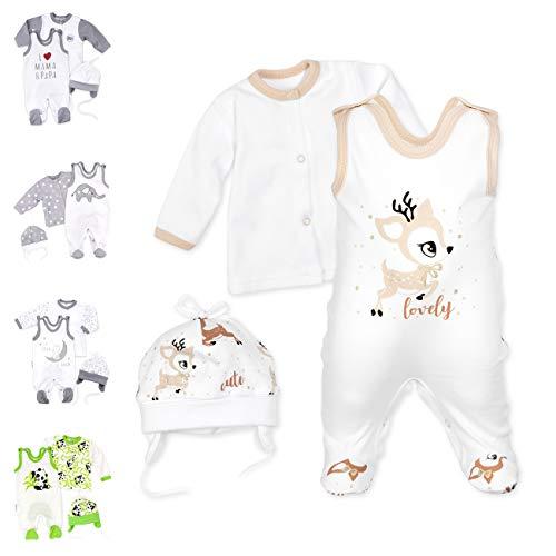 Baby Sweets 3er Baby-Set mit Strampler, Shirt & Mütze für Jungen & Mädchen in Braun Beige/Erstausstattung als Strampler-Set im REH-Motiv für Neugeborene & Kleinkinder in der Größe: 9 Monate (74)