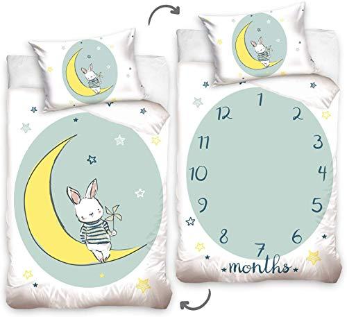 Conejo blanco - Juego de cama con funda nórdica de 100 x 135 cm y funda de 40 x 60 cm, 100 % algodón, para cuna o cama de bebé o joven evolutivo