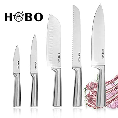 Knife Set, HOBO Professional 5-Piece Stainless Steel Kitchen Knife Set, Non-Slip Frosted Handle, Serrated and Standard Sharp Chef Knife, Bread Knife for Mincing, Chopping, Slicing.