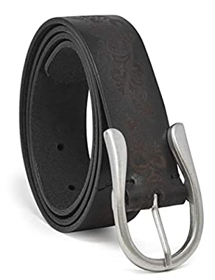 Timberland Women's Casual Leather Belt, Black (Etched), Small (28-32)