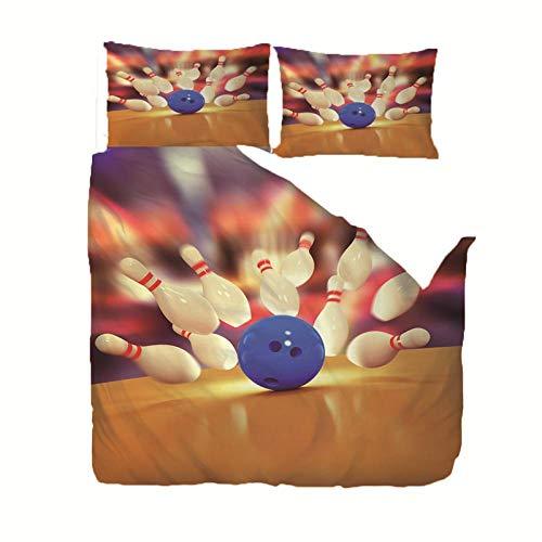 GQYJMSJS Bettwäsche 220 x 240 cm Weiße Bowlingkugel Microfaser Bettbezug und Kissenbezug,Flauschige Bettbezüge mit Reißverschluss 220x240 cm + 2 Kopf Kissenbezug 80x80cm