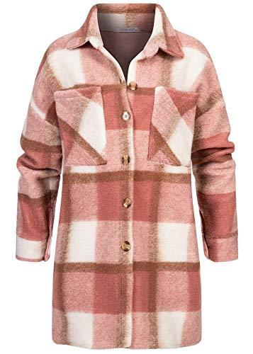 Hailys Damen Overzied Longform Woll Jacke Karo Muster 2 Brusttaschen Rosewood rosa