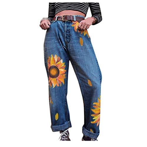 Pantalones Mujer Vaqueros,Pantalones Mujer Casual Anchos,Jeans Casuales Delgados para Mujer Girasoles De Cintura Media Pantalones Delgados Longitud De Jeans