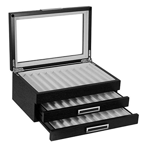 30 Piece Black Ebony Wood Pen Display Case Storage and Fountain Pen Collector Large Organizer Box with Glass Window Three Level Display Case with Drawers Father's Day Gift