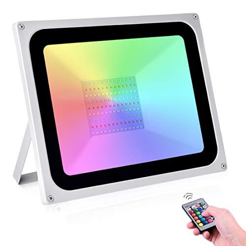 100W Projecteur LED RGB Extérieur 16 couleurs & 4 modes 10000LM RGB Projecteur avec Télécommande, Étanche IP65 Spot LED pour Jardins Cour Halloween Noël (Pas de mémoire)[Classe énergétique A+]