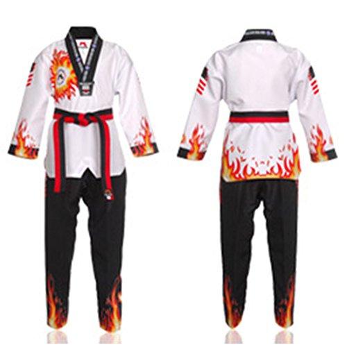 of martial arts uniforms Mudoin Korea Taekwondo Flame Fire Uniform for Children MMA Martial Arts Karate Hapkido Demonstration Team Gym School Academy