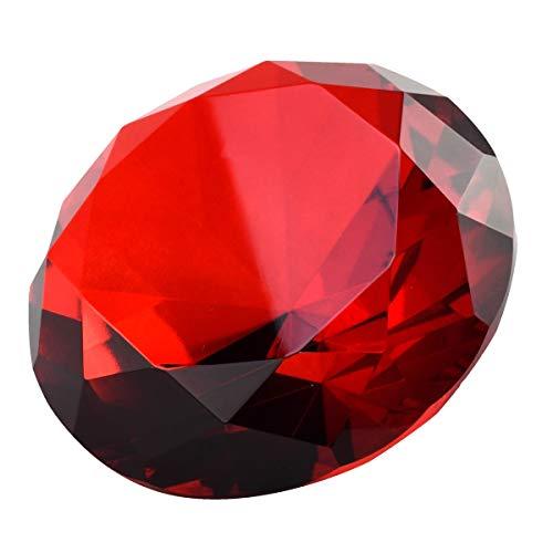 Treasure Gurus Big 100mm Deep Ruby Red 100 mm Crystal Diamond Jewel Giant Paperweight