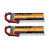 Youme 2S LiPo Battery, 7.4V RC Lipo Batteries 4500mAh 60C con Dean-Style T Connector para RC Heli Airplane Quadcopter Helicopter Multi-Motor Hobby DIY Parts