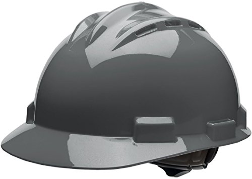 Bullard 62dgr standard series vented cap style hard hat, 4 point ratchet suspension, cotton brow pad, dove grey, one size