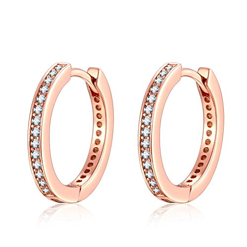 Qings 925 Sterling Silver Earrings, Rose Gold Small Hoop Stud Pendientes con Cubic Zirconia Simulated Diamond Regalos para Lady women Girls