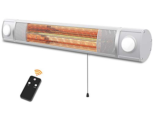 PATIOBOSS Patio Heater, Infrared Heater with LED Light and Remote Control, Electric Outdoor Heater for Silent Work,Instant Warm, Wall Mounted