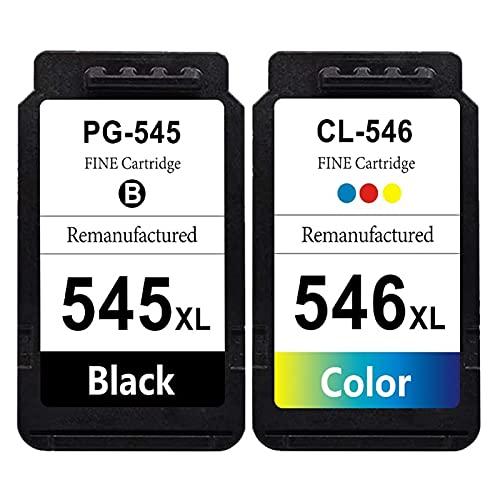 RICR Remanufacturado 545 XL 546 XL Cartucho de Tinta para Canon PG-545XL CL-546XL, para Canon PIXMA MG2450 MG2550 MG2550S MG2950 MG3050 MG3051 MG3052 MG3051 MX495 IP2850 Black+Color
