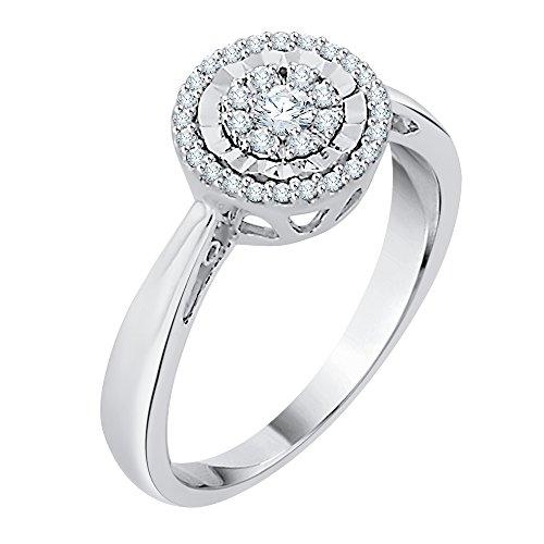 KATARINA Anillo de Compromiso Cluster Diamante en Plata esterlina (1/4 cttw, I-J, I1-I2) (Tamaño-7)
