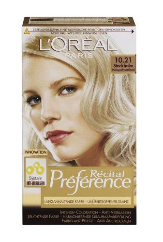L'Oréal Paris Récital Préférence Haarfarbe, 10,21 - Platin-Perl-Blond