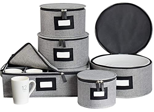 China Storage Containers Box Set for Dinnerware,Hard Shell and Stackable Dishes Mugs Storage with Lable Window for Saucers, Dinner and Salad Plates Protects,48Pcs Felt Plate Dividers Included,Set of 5-Grey