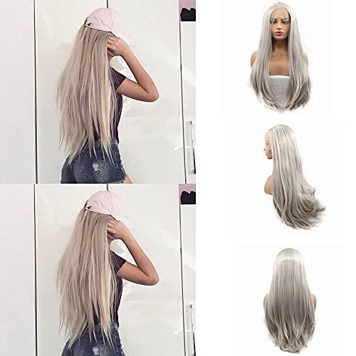 Pour femme Aspect naturel Blond platine synthétique Lace Front Perruques raides naturels doux Blond Long de remplacement pour cheveux, résistant à la chaleur Fibre Middle Parting Cheveux 66 cm