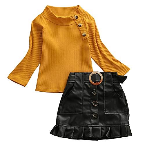 Peuter Kid Meisje Winter Outfit Kleding Baby Meisje Lange Mouw Breien Tops+PU Rok Casual Set