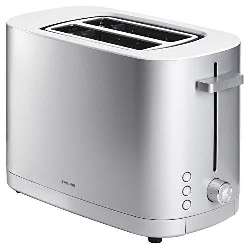 ZWILLING Enfinigy Toaster mit 2 Schlitzen, 1.000 Watt, abnehmbarer Brötchenaufsatz und herausnehmbarer Krümelschublade, Silber