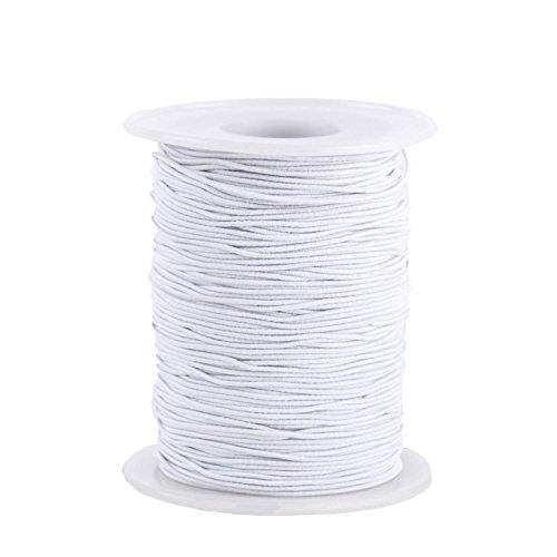 Senkary 0.8 mm Elastic String Cord Elastic Thread Beading String Cord for Jewelry Making Bracelets Beading, 100 Meters, White