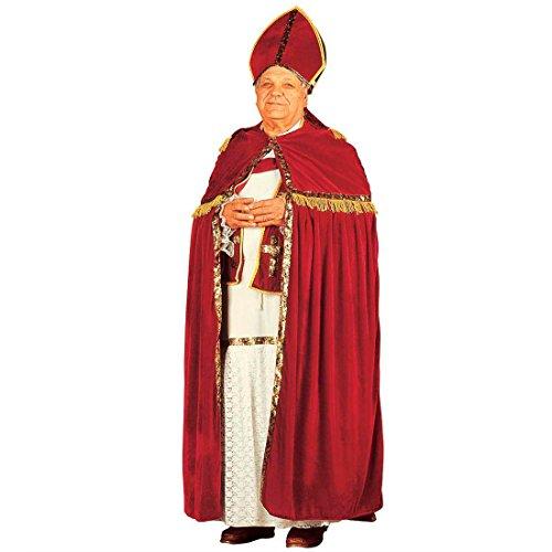 Amakando Disfraz de Buispo de San Nicols XL 54/56, disfraz de arzobispo  de tnica, cinturn, estola, capa y gorro de obispo  Disfraz de Pap Noel