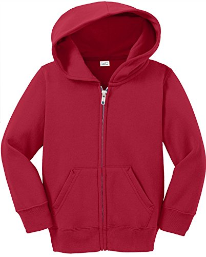 Toddler Full Zip Hoodies - Soft and Cozy Hooded Sweatshirts, 4T Red