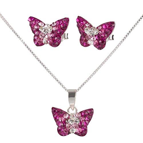 FIVE-D Set Kette Kinderohrringe Anhänger Schmetterling Kristall Pink 925 Silber im Schmucketui