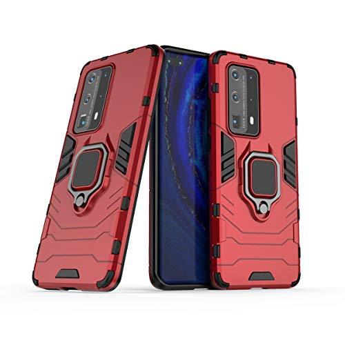 BAIYUNLONG Funda para Huawei P40 PRO Plus, funda para teléfono móvil, anillo de rotación de 360 grados, funda para teléfono inteligente, funda a prueba de golpes, para Huawei P40 PRO PLUS (color rojo)