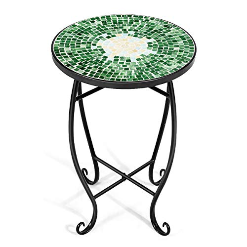 Giantex Outdoor Side Table, Mosaic Patio Table, 14inch Accent Table Plant Stand Decor, Small Outdoor End Table Porch Beach with Cobalt Glass Top Metal Frame for Patio Garden Balcony Poolside (Green)